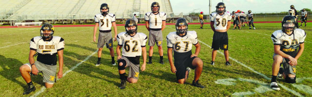 Rio Hondo Bobcat defenders (pictured L to R) Isaiah Heredia, Ethan James, Mando Luna, Daniel Flores, Mike Lozano, Roel Benitez and Albert Magallanes make up a defensive unit that's second to none in the Rio Grande Valley. (Staff Photo: Jacob Lopez)