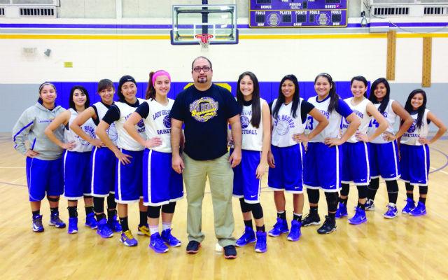 Abel Moreno Jr. in his first year leading the San Benito Lady Greyhound Varsity basketball team.