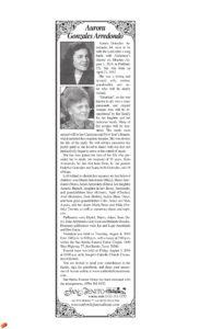 Aurora Gonzales Arredondo Obituary
